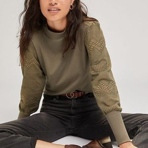 NWT Anthro Tiny Lace Sleeve Mock Neck Top In Moss